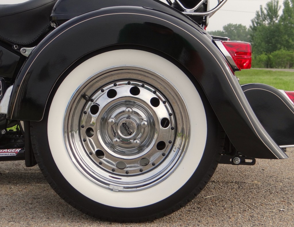13 inch chrome with wide white wall tire