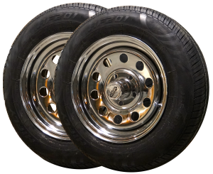 New 13 inch rim and black wall tire set of 2